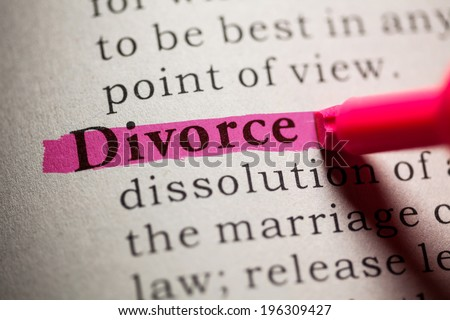 Fake Dictionary, definition of the word Divorce. - stock photo