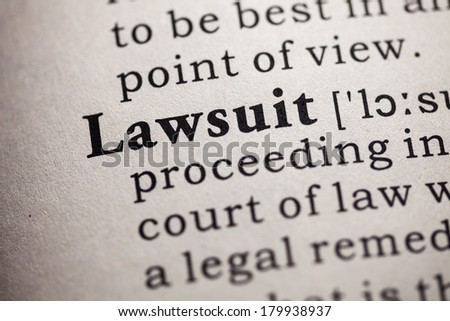 Fake Dictionary, definition of the word lawsuit. - stock photo