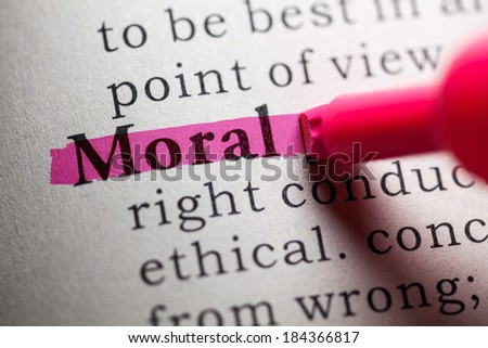 Fake Dictionary, definition of the word moral. - stock photo