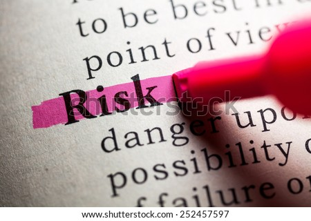 Fake Dictionary, definition of the word risk. - stock photo