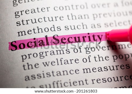 Fake Dictionary, definition of the word social security. - stock photo