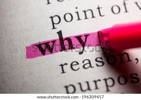Fake Dictionary, definition of the word why. - stock photo