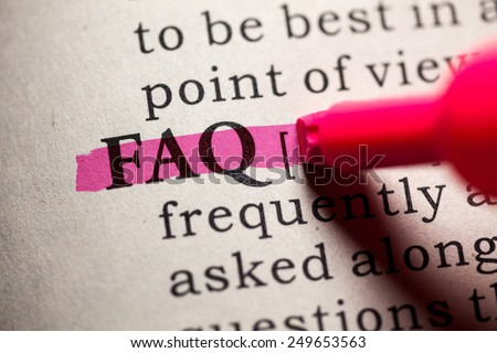 Fake Dictionary, Dictionary definition of the word FAQ. - stock photo