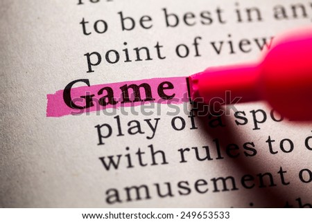 Fake Dictionary, Dictionary definition of the word game. - stock photo