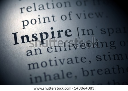 Fake Dictionary, Dictionary definition of the word Inspire.  - stock photo