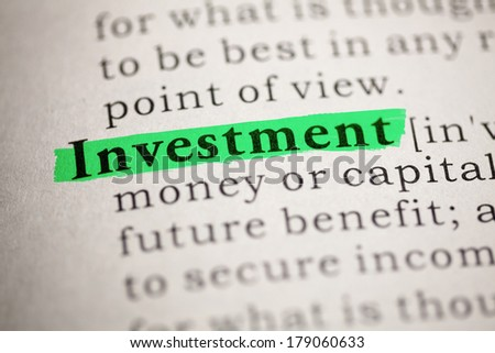 Fake Dictionary, Dictionary definition of the word Investment. - stock photo