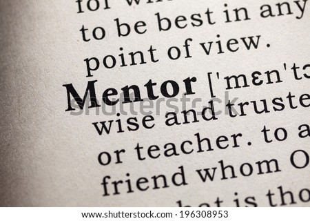 Fake Dictionary, Dictionary definition of the word mentor. - stock photo