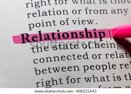 Fake Dictionary, Dictionary definition of the word relationship. - stock photo
