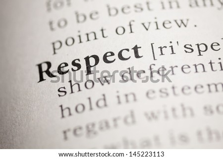 Fake Dictionary, Dictionary definition of the word Respect. - stock photo