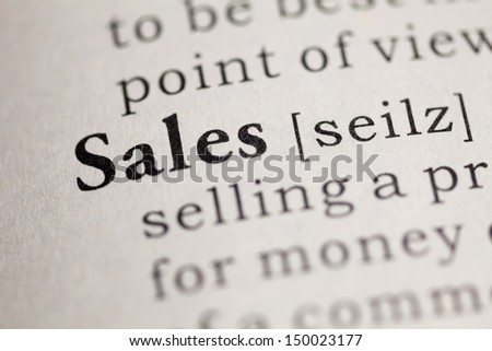 Fake Dictionary, Dictionary definition of the word Sales. - stock photo
