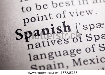 Fake Dictionary, Dictionary definition of the word spanish. - stock photo