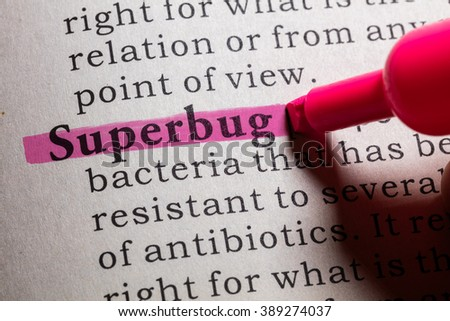 Fake Dictionary, Dictionary definition of the word superbug. - stock photo