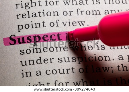 Fake Dictionary, Dictionary definition of the word suspect. - stock photo
