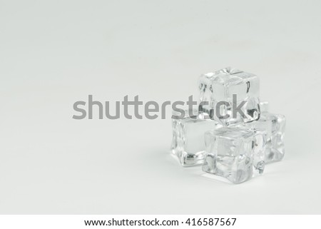 Fake ice made with resins on white background. - stock photo