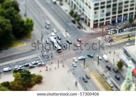 Fake tilt shift Berlin, Germany - stock photo