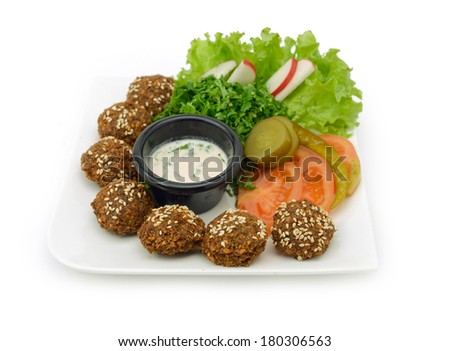 Falafel dish with veggies  - stock photo