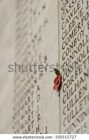 Falen soldiers remebrance wall with poppy - stock photo