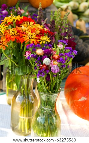 Fall bouquets on display at a farmer's market - stock photo