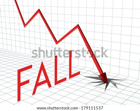 Fall chart concept, crisis and down arrow - stock photo