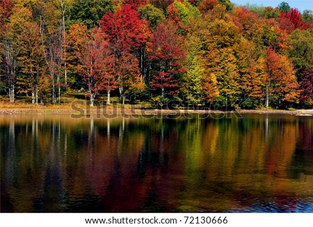 Fall Color, Summit Lake, Monongahela National Forest, Greenbrier County, West Virginia, USA - stock photo