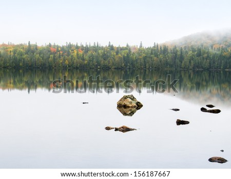 Fall colors in northern Ontario - stock photo