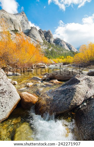 Fall Colors on a Sunny Day Along Bubb's Creek, King's Canyon Wilderness, California - stock photo