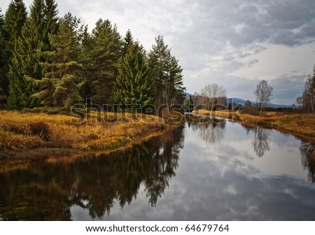 fall day and river - stock photo