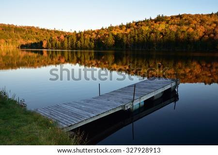 Fall Evening on Pickett Lake, New Brunswick Canada (taken on my property)  - stock photo