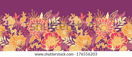 Fall flowers and leaves horizontal seamless pattern border raster - stock photo
