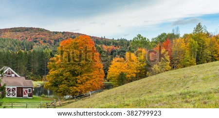 Fall Foliage at a farm in Vermont - stock photo