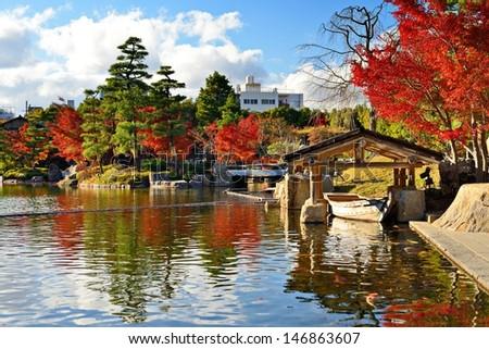 Fall foliage at  in Nagoya, Japan. - stock photo