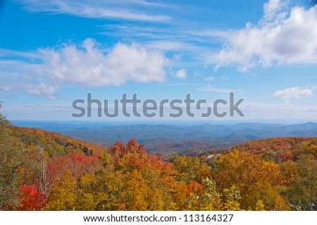 Fall foliage, North Carolina. A scenic overlook on the Blue Ridge Parkway with colorful Fall foliage. - stock photo