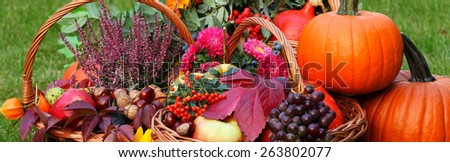 Fall fruits and vegetables in wicker basket - stock photo