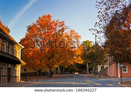 Fall in Old Salem - stock photo