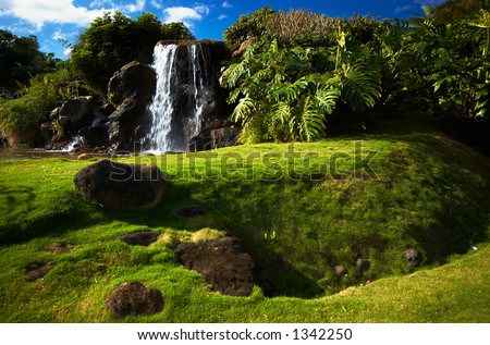 Fall in princeville resort on Kauai Hawaii. More with keyword Series001E. - stock photo