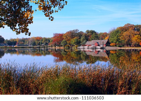 Fall landscape around the lake - stock photo