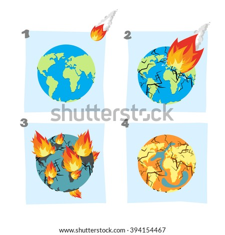 Fall  meteorite impact on Earth. An asteroid flies on planet. Cracks in planet Earth. Fire Burns on planet Earth, and continents. Global drought. Dry up ocean. Desert on Earth. Universal catastrophe.  - stock photo