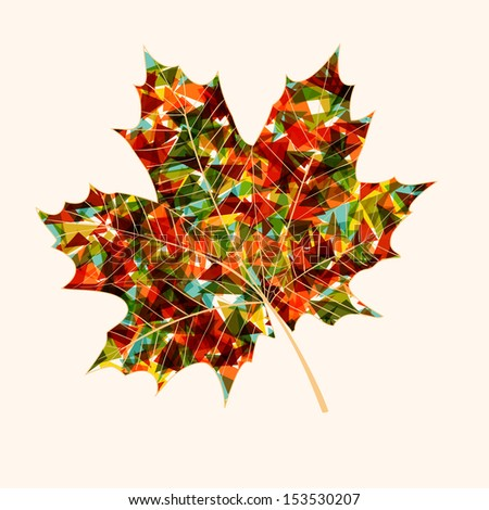 Fall season colorful transparent leaf with geometric elements inside. Abstract autumn background. - stock photo