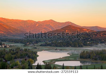 Fall sunrise in Park City, Utah, USA. - stock photo