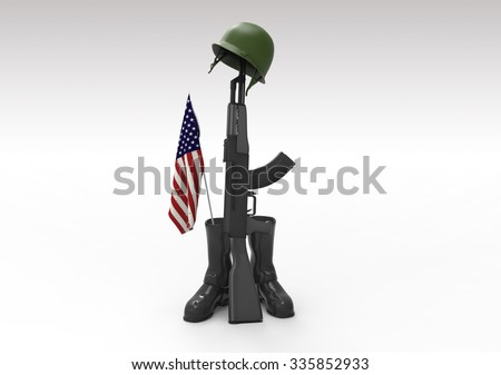 Fallen soldier tribute, helmet, gun, boots and flag, 3d render - stock photo
