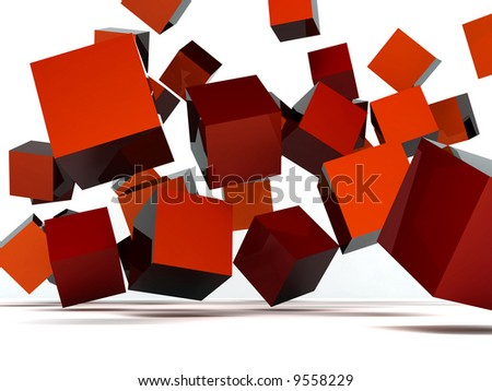 Falling and hitting red cubes on a white background - stock photo