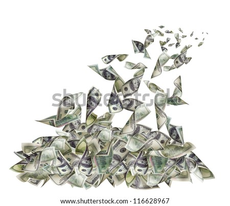 Falling banknotes of 100 dollars - stock photo