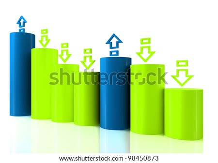 Falling bar chart from color blocks on white background - stock photo