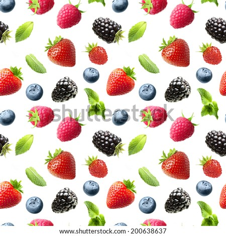 Falling berries isolated on white. Seamless pattern background - stock photo