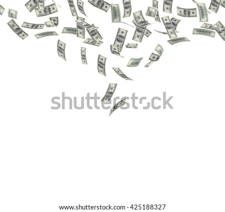 Falling $100 both from front and back like real on white background. 3d rendering - stock photo