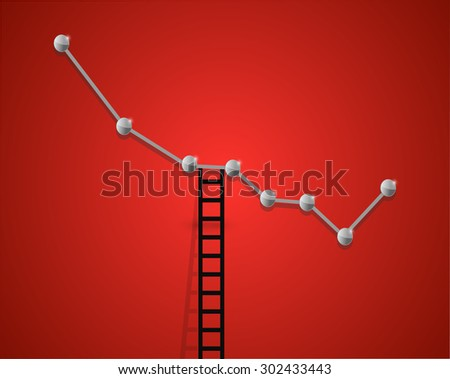 falling business graph and ladder concept illustration design - stock photo