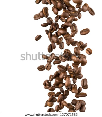 falling coffee beans - stock photo