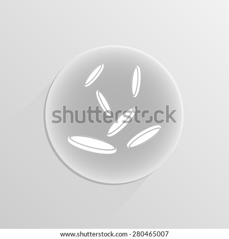 falling coins on a white button with shadow  - stock photo