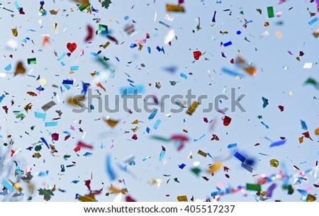 Falling confetti on festival  - stock photo