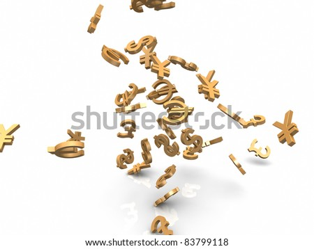 Falling currency sings - stock photo